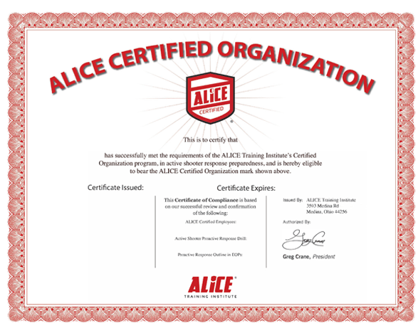 ALICE Training Options. Organizational Certificate