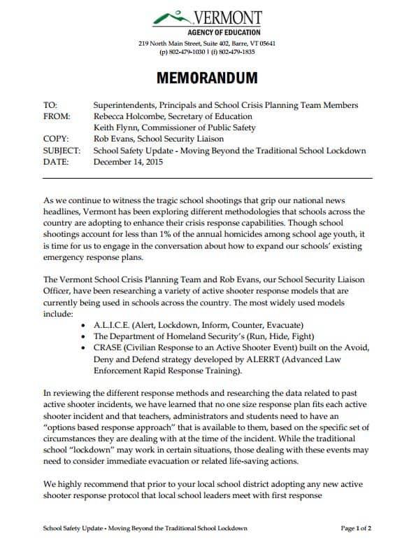 VT School Safet Update Moves Beyond Traditional Lockdown- Memorandum