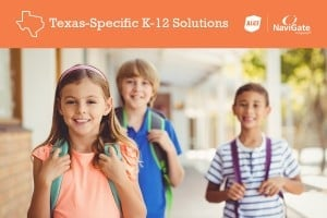 Three children with backpacks standing below banner that reads Texas-Specific K-12 Solutions
